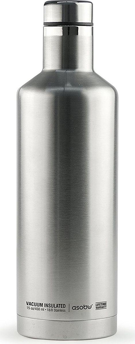 Термобутылка Asobu Times Square Travel Bottle, цвет: стальной, 450 мл термобутылка 0 45 л asobu times square travel bottle стальная sbv15 silver