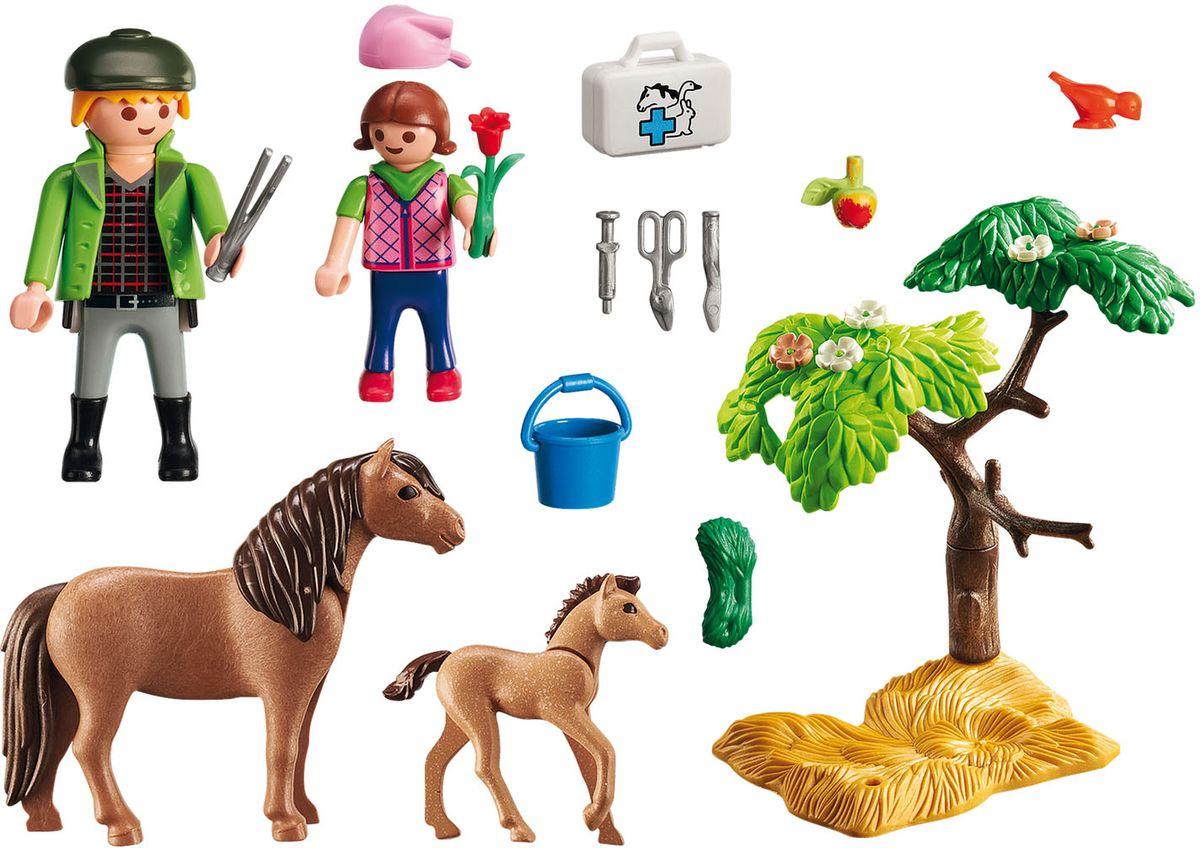 Playmobil Игровой набор Ветеринар с пони и жеребенком
