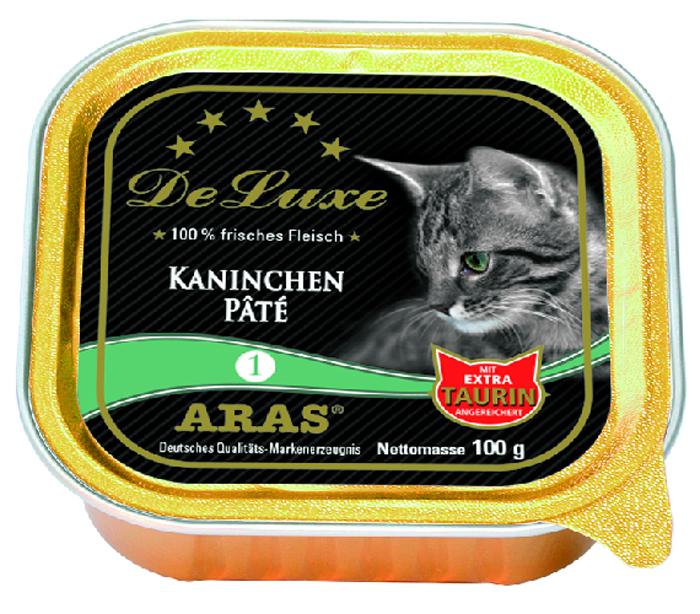 """Консервы для кошек Aras """"Premium DeLuxe"""", паштет с кроликом, 100 г"""
