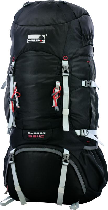 Рюкзак туристический High Peak Sherpa, цвет: черный, 65 + 10 л