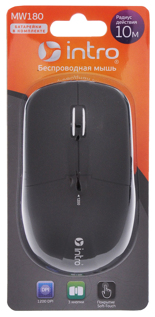 Мышь Intro MW180, Black беспроводная intro мышь intro mu208g gaming black usb