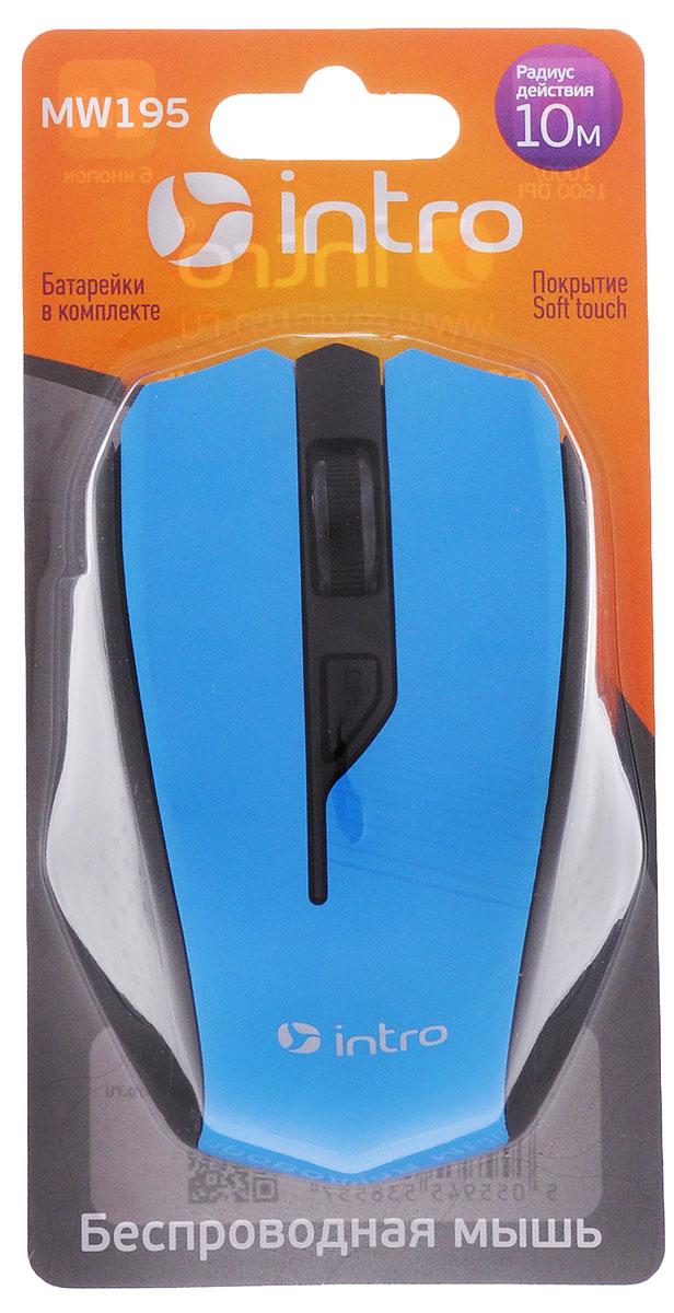 лучшая цена Intro MW195, Black Blue мышь беспроводная