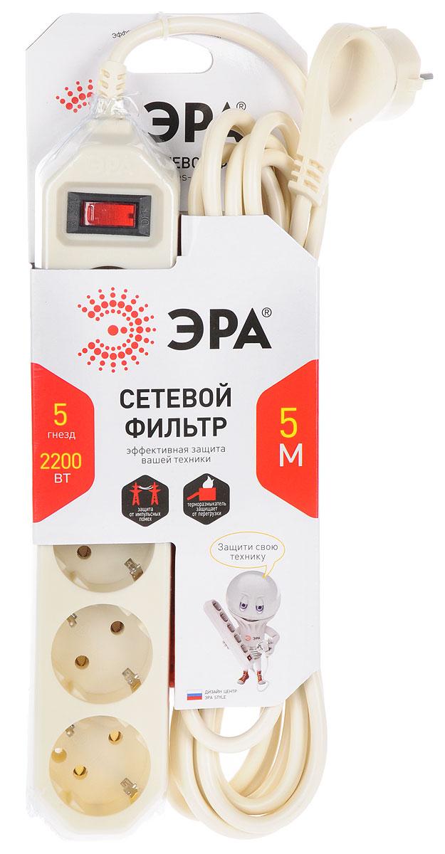 ЭРА USF-5es-5m-I, Ivory сетевой фильтр на 5 розеток (5 м) цена