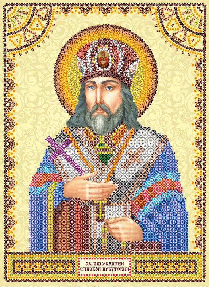 Схема для вышивки иконы бисером на холсте Абрис Арт Святой Иннокентий, 17 х 23 см цена