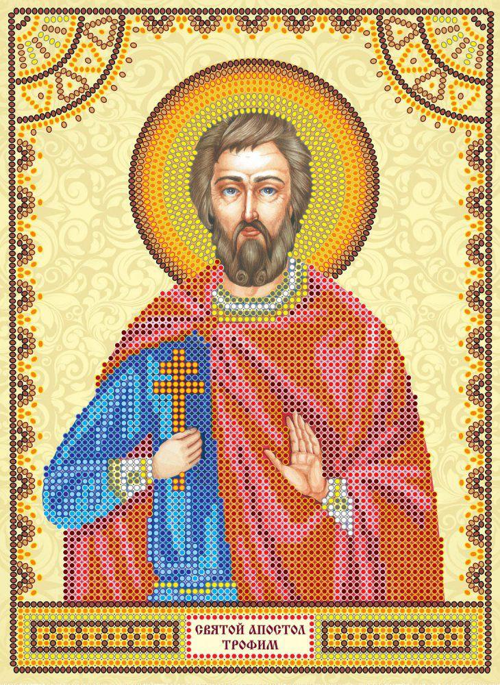 Схема для вышивки иконы бисером на холсте Абрис Арт Святой Трофим, 17 х 23 см цена