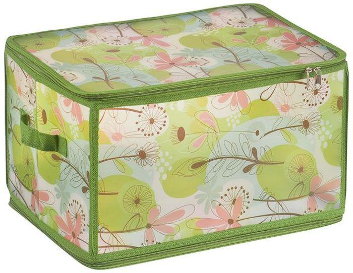 Короб для хранения Handy Home Весна, складной, цвет: зеленый, 30 х 40 х 25 см короб для хранения обуви handy homeроза 4 секции 94 х 60 х 15 см