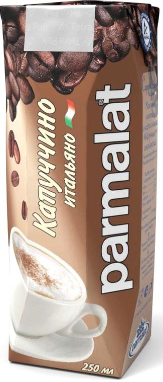 Parmalat Капучино ультрапастеризованный коктейль молочный с кофе и какао 1,5%, 0,25 л чай  кофе и какао
