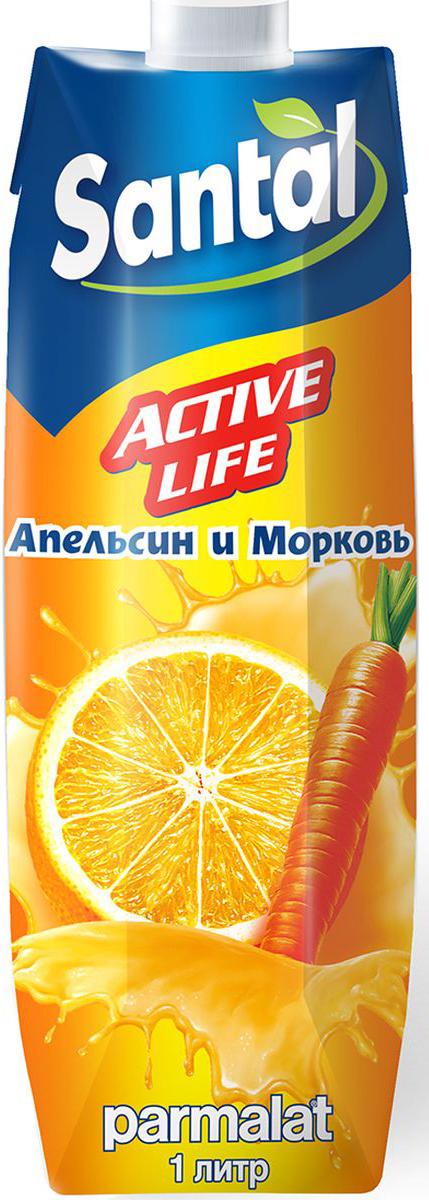 Santal Нектар Active Life Апельсин - Морковь, 1 л миша нектар морковь яблоко 0 33 л