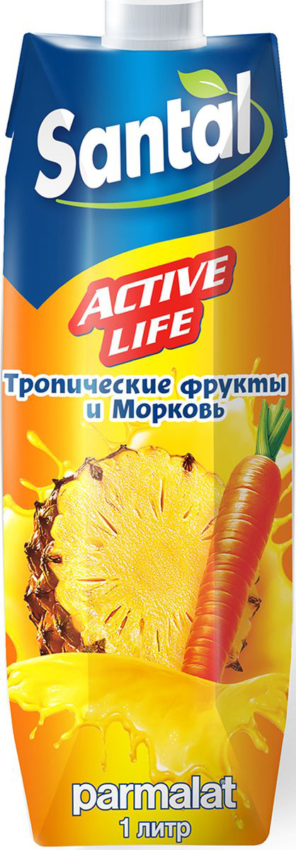 Santal Нектар Active Life Тропик - Морковь, 1 л santal нектар клубничный 1 л