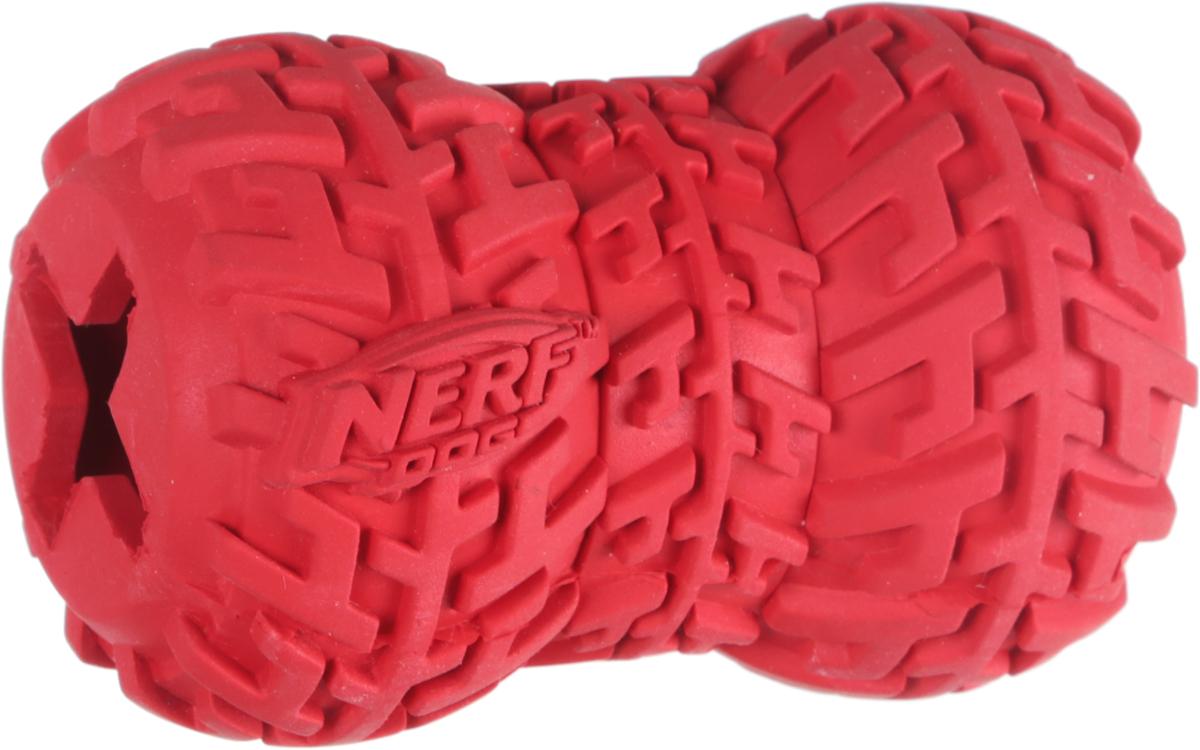 Игрушка-кормушка для собак Nerf Шина, цвет: красный, длина 7 см цена