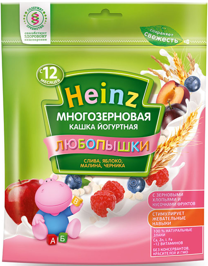 """Heinz """"Любопышки"""" каша многозерновая йогуртная, слива, яблоко, малина, черника, с 12 месяцев, 200 г"""