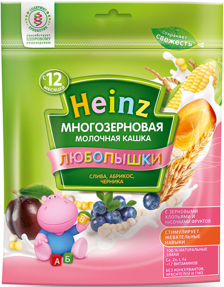 """Heinz """"Любопышки"""" каша многозерновая молочная, слива, абрикос, черника, с 12 месяцев, 200 г"""
