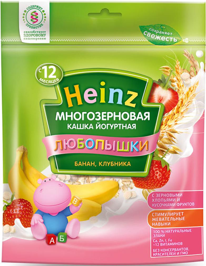 """Heinz """"Любопышки"""" каша многозерновая, йогуртная, банан, клубника, с 12 месяцев, 200 г"""