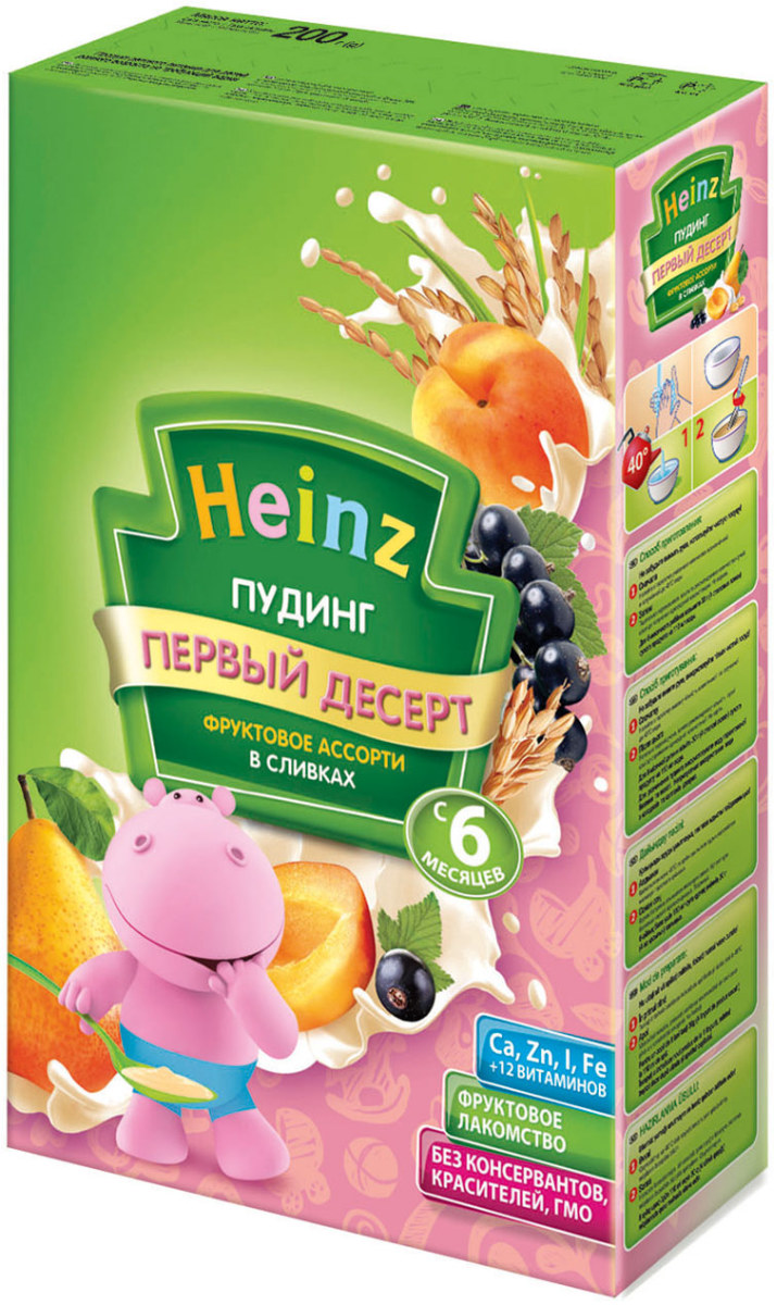 Heinz пудинг фруктовое ассорти в сливках, с 6 месяцев, 200 г