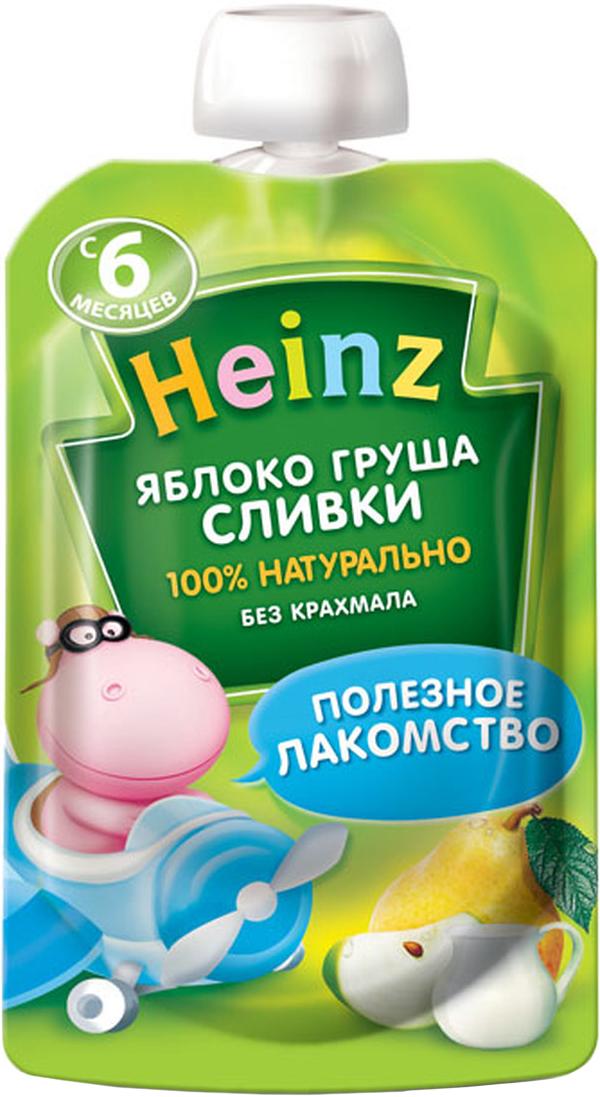 Heinz пюре яблоко груша сливки, с 6 месяцев, 90 г (пауч)