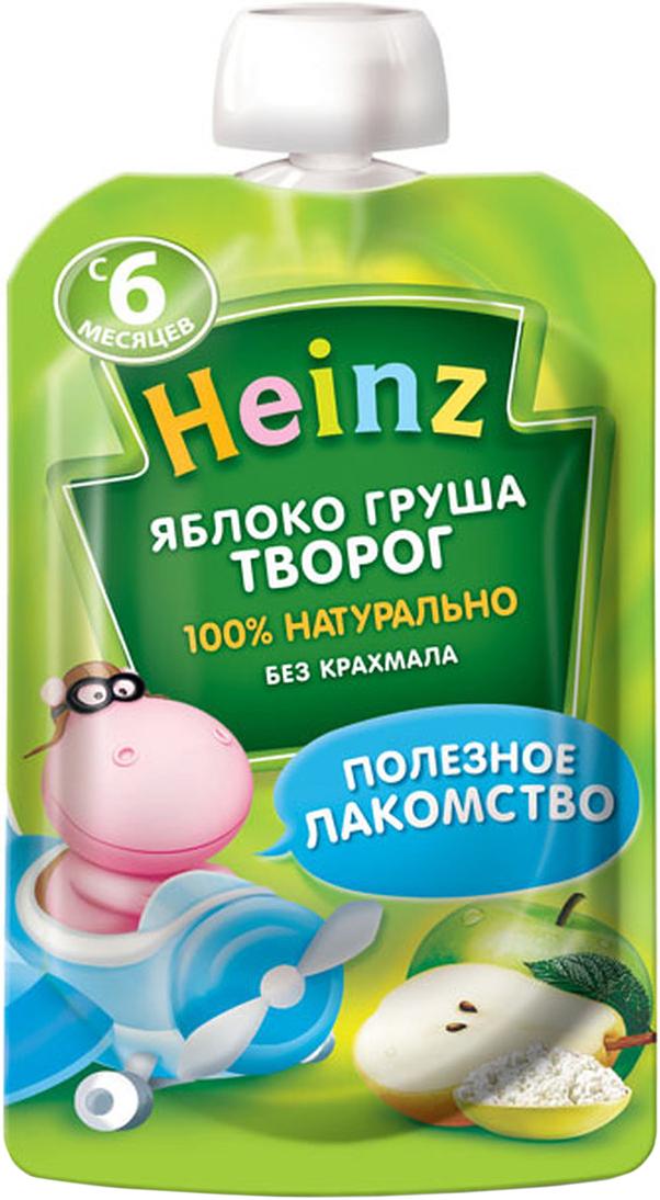 Heinz пюре яблоко груша творог, с 6 месяцев, 90 г (пауч)