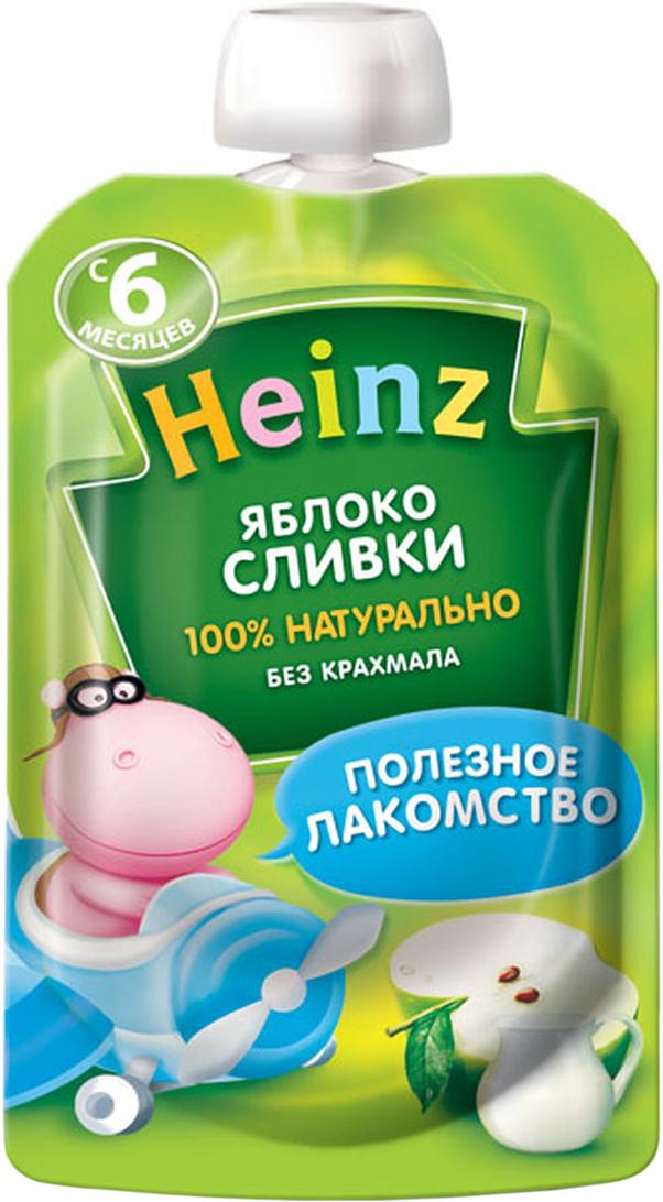 Heinz пюре яблоко сливки, с 6 месяцев, 90 г (пауч)