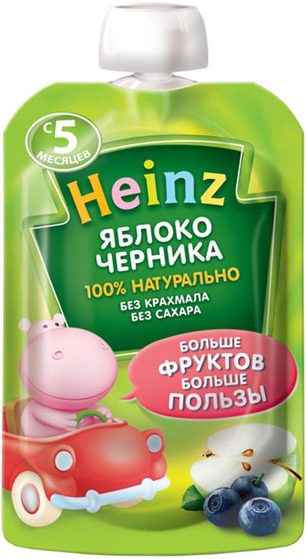 Heinz пюре яблоко, черника, с 5 месяцев, 90 г (пауч)