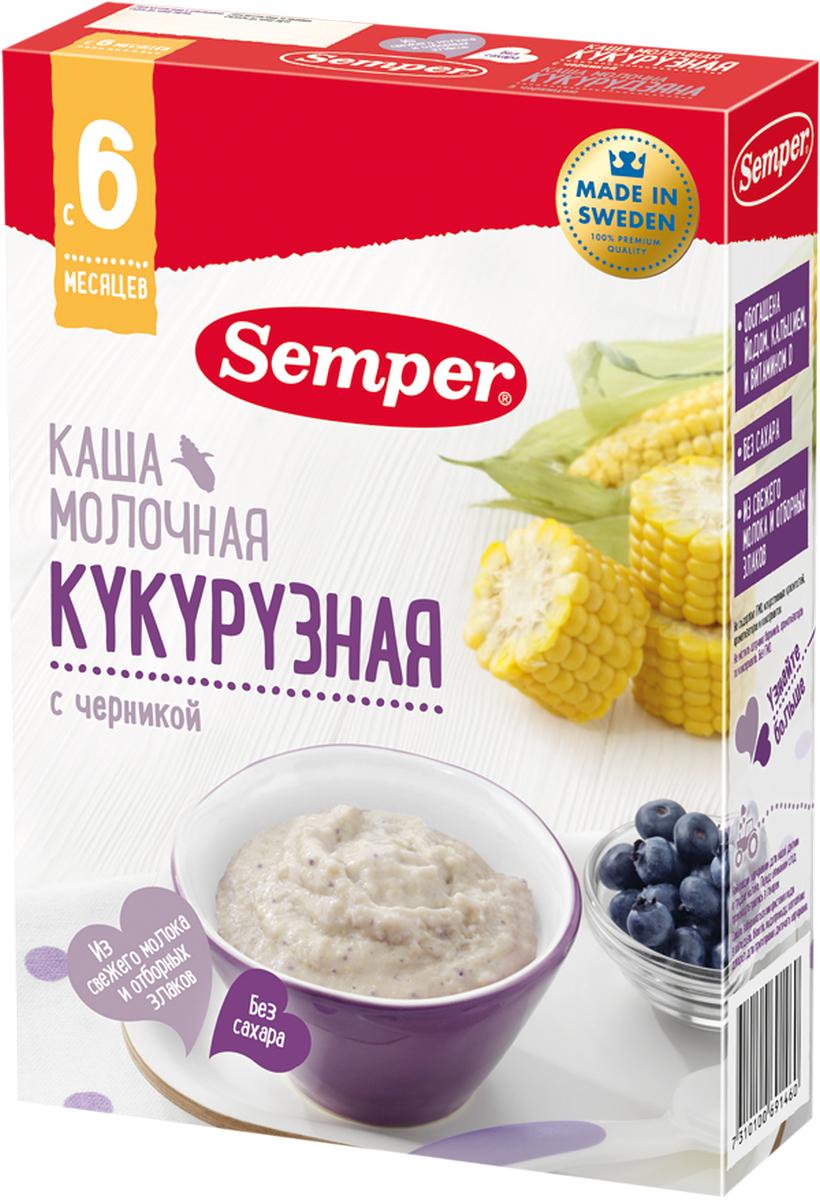Semper каша кукурузная с черникой молочная, с 6 месяцев, 200 г