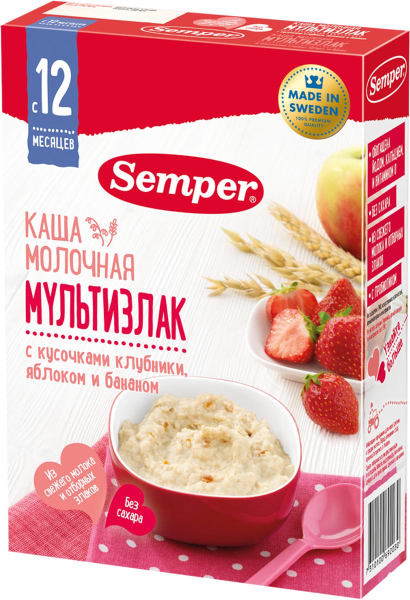 Semper каша мультизлак с кусочками клубники, яблоком и бананом молочная, с 12 месяцев, 200 г