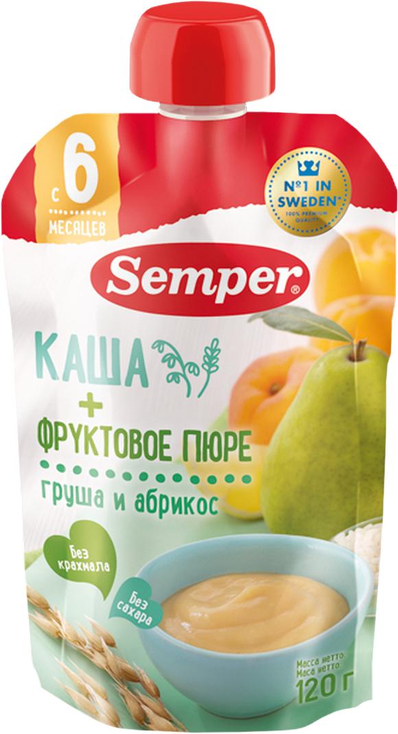 Semper пюре грушево-абрикосовое с кашей, 6 месяцев, 120 г