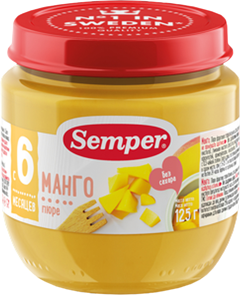 Semper пюре манго, с 6 месяцев, 125 г