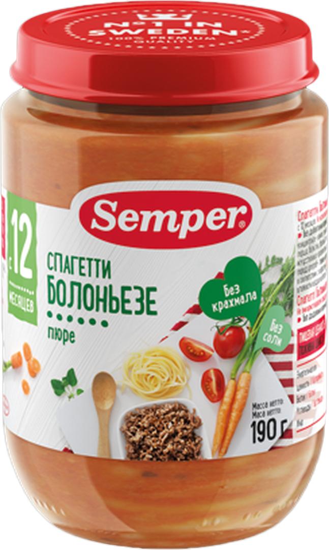 Semper пюре спагетти болоньезе, с 12 месяцев, 190 г