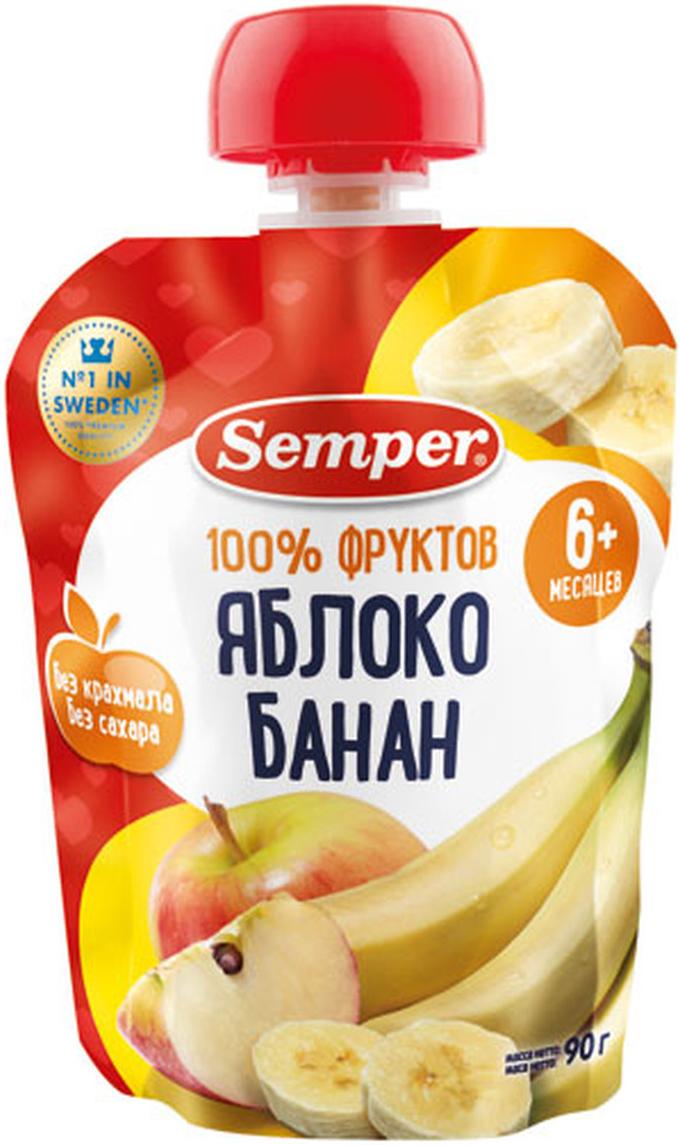 Semper пюре яблоко и банан, с 6 месяцев, 90 г