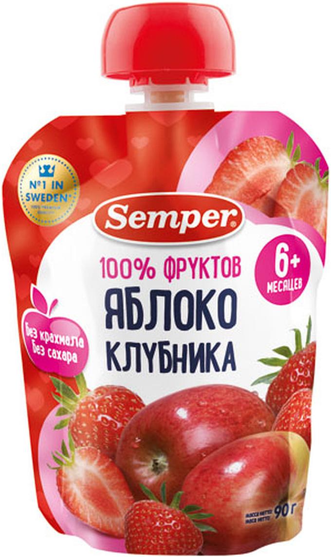 Semper пюре яблоко и клубника, с 6 месяцев, 90 г
