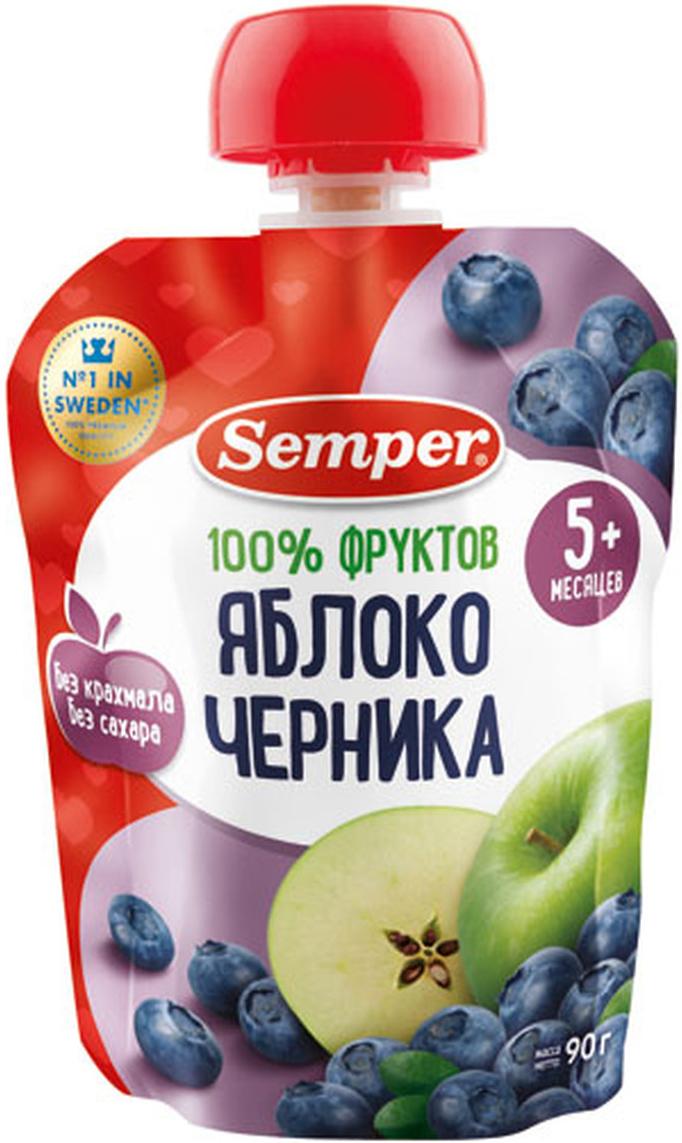 Semper пюре яблоко и черника, с 5 месяцев, 90 г Ne