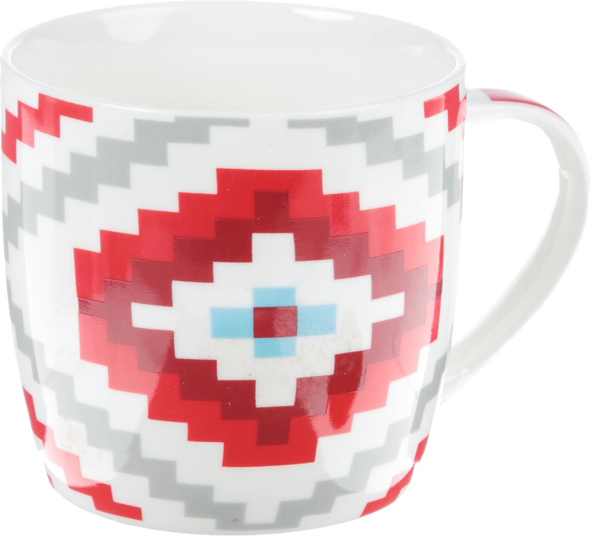 Кружка Loraine Большой ромб, цвет: красный, белый, серый, 320 мл кружка loraine цвет белый красный голубой 320 мл 24484