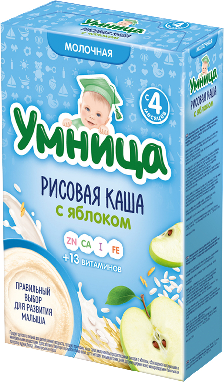 все цены на Умница каша рисовая с яблоком молочная, с 4 месяцев, 200 г онлайн