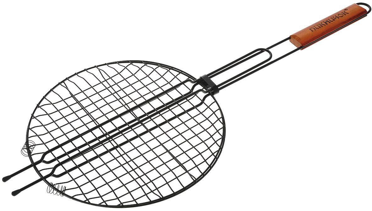 Решетка-гриль Пикничок Сицилийская, круглая, с антипригарным покрытием, диаметр 30 см