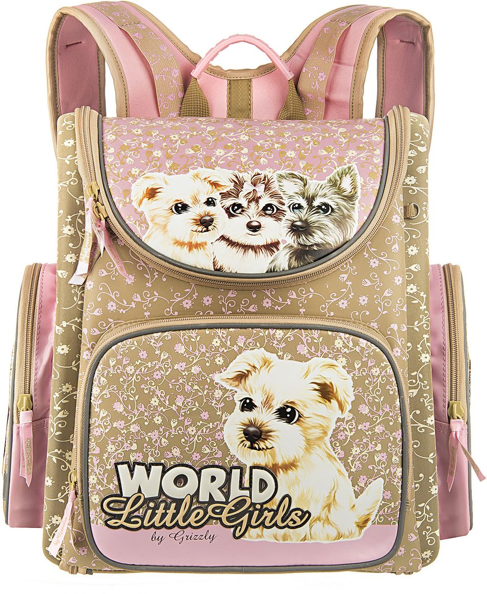 Grizzly Ранец школьный World Little Girls цвет бежевый розовый