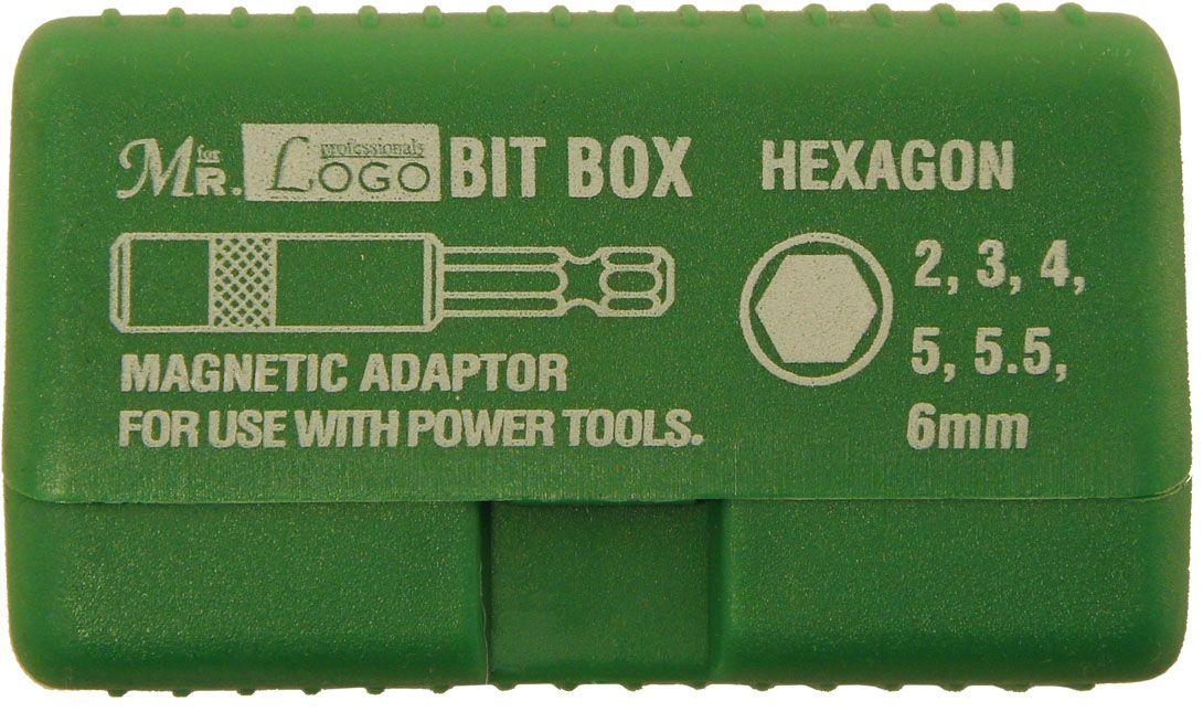 Набор насадок-бит Mr.Logo, с удлинителем, цвет: зеленый, 6 см, 7 предметов набор бит bosch 7 предметов 2 607 001 937