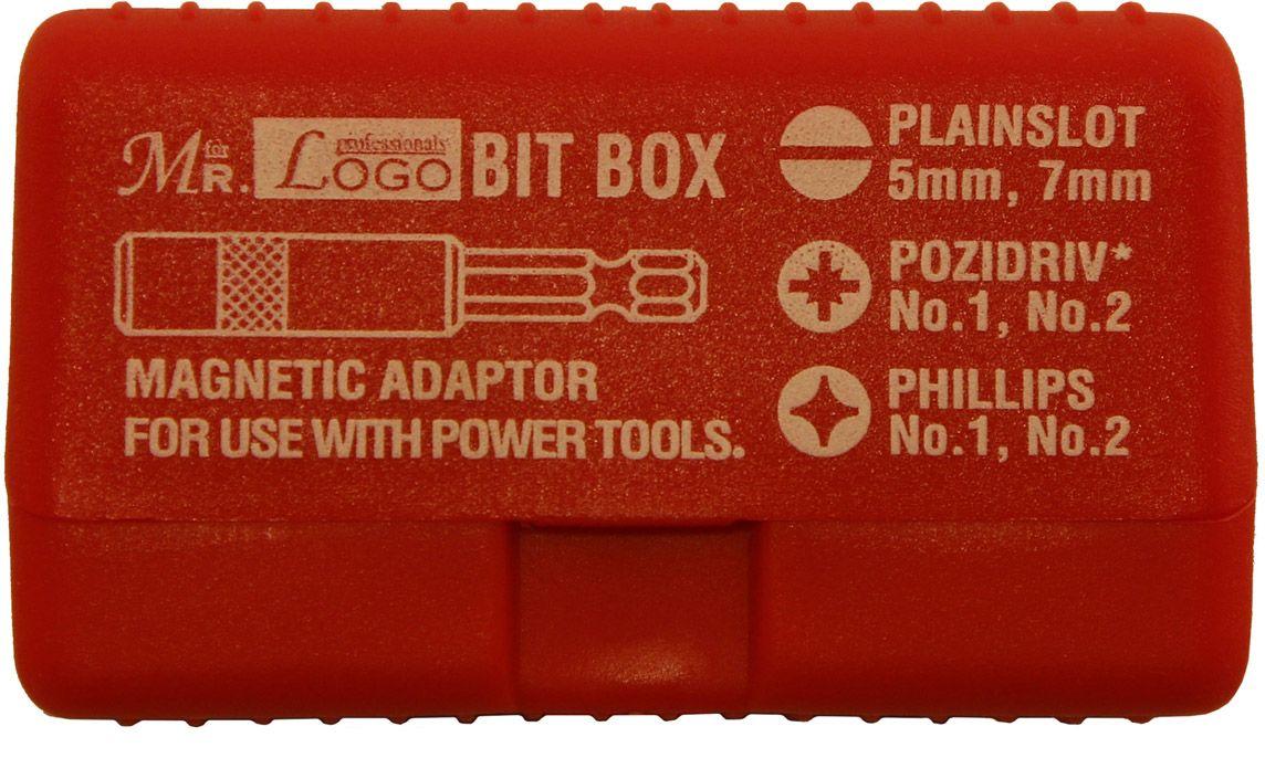 Набор насадок-бит Mr.Logo, с удлинителем, цвет: красный, 6 см, 7 предметов набор бит bosch 7 предметов 2 607 001 937