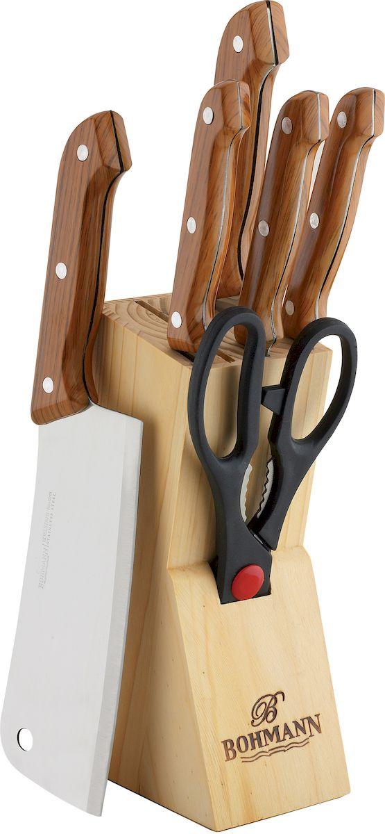 Набор кухонных ножей Bohmann, на подставке, 7 предметов набор кухонных ножей 3 шт 7941 clasica серия clasica