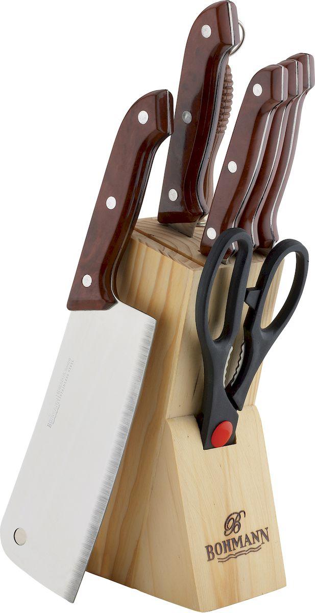 Набор кухонных ножей Bohmann, на подставке, цвет: мраморный, 8 предметов sharpeners кухня точило системы профессиональных нож новый исправить угол ножницы
