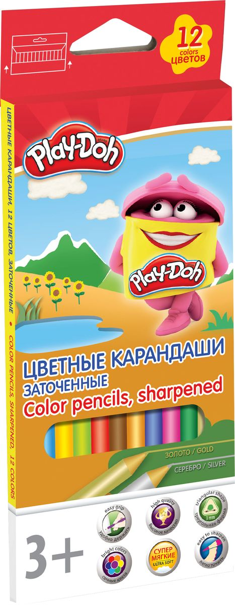 Play-Doh Набор цветных карандашей 12 цветов PDEB-US2-3QP-12