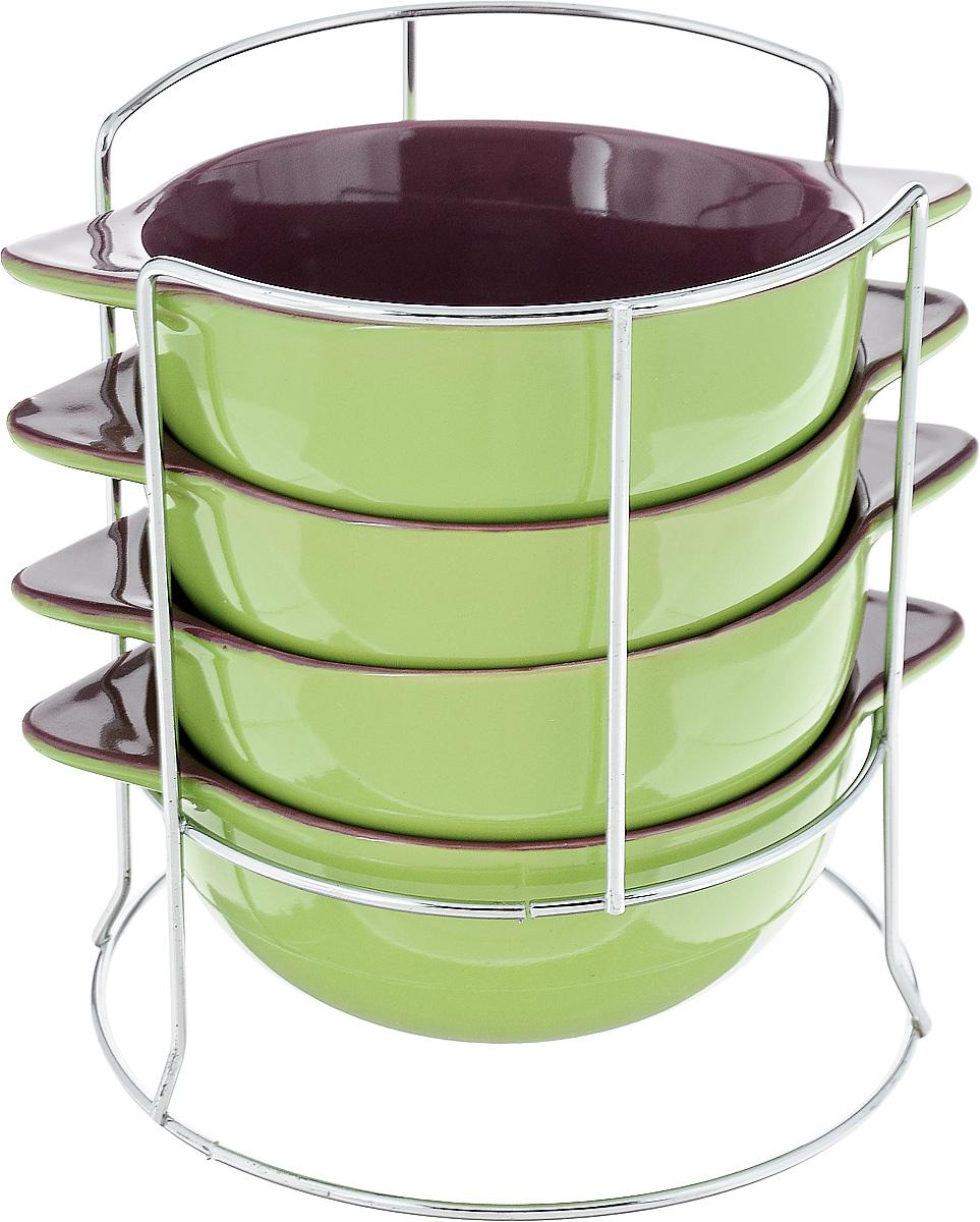 """Набор бульонниц """"Loraine"""", на подставке, цвет: салатовый, фиолетовый, 500 мл, 5 предметов. 24236"""