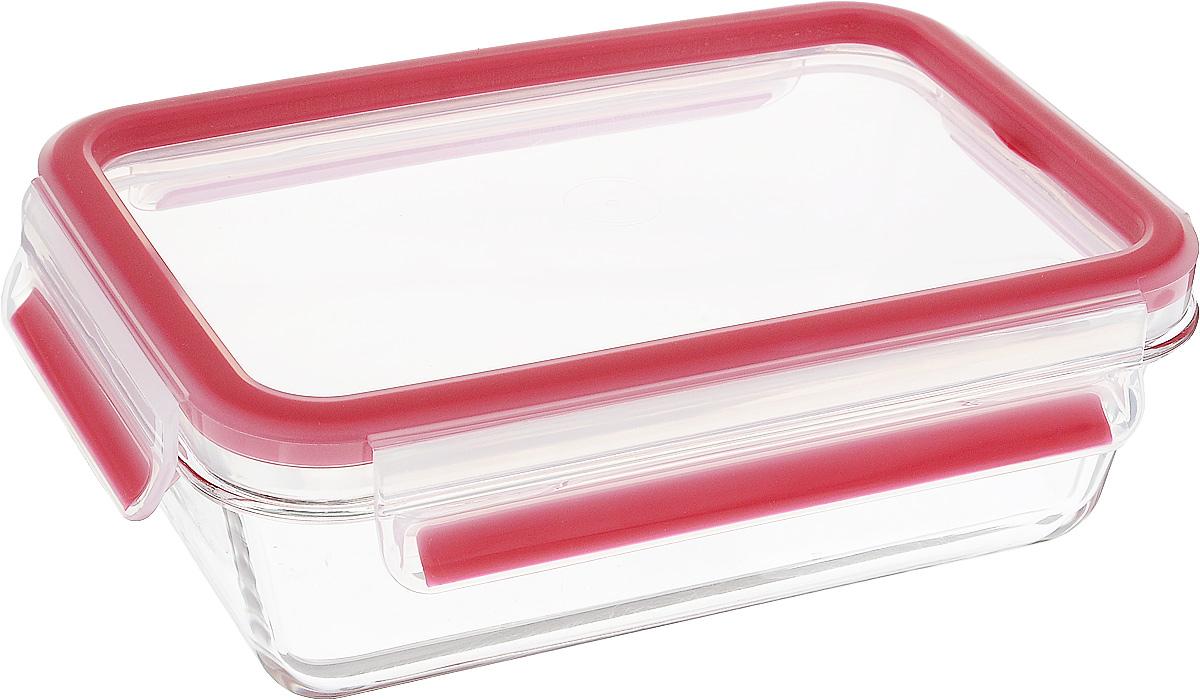 Контейнер прямоугольный Emsa Clip&Close Glas, цвет: красный, прозрачный, 700 мл контейнер пищевой emsa clip