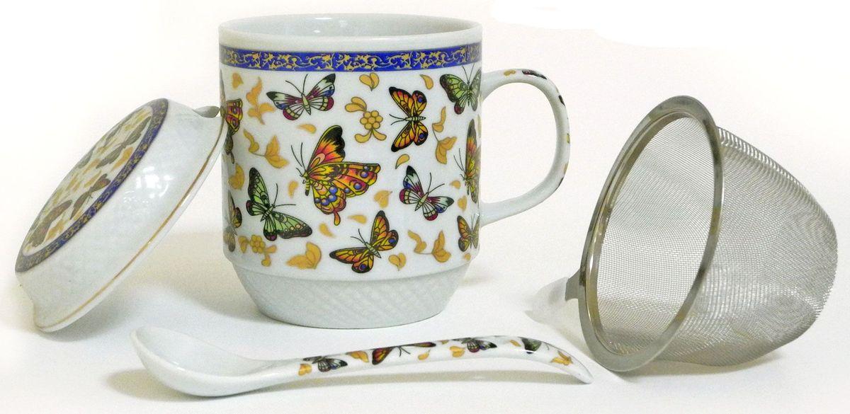 Кружка заварочная Briswild Полет бабочек, с ситом и ложкой, 350 мл кружка заварочная rosenberg r 260028