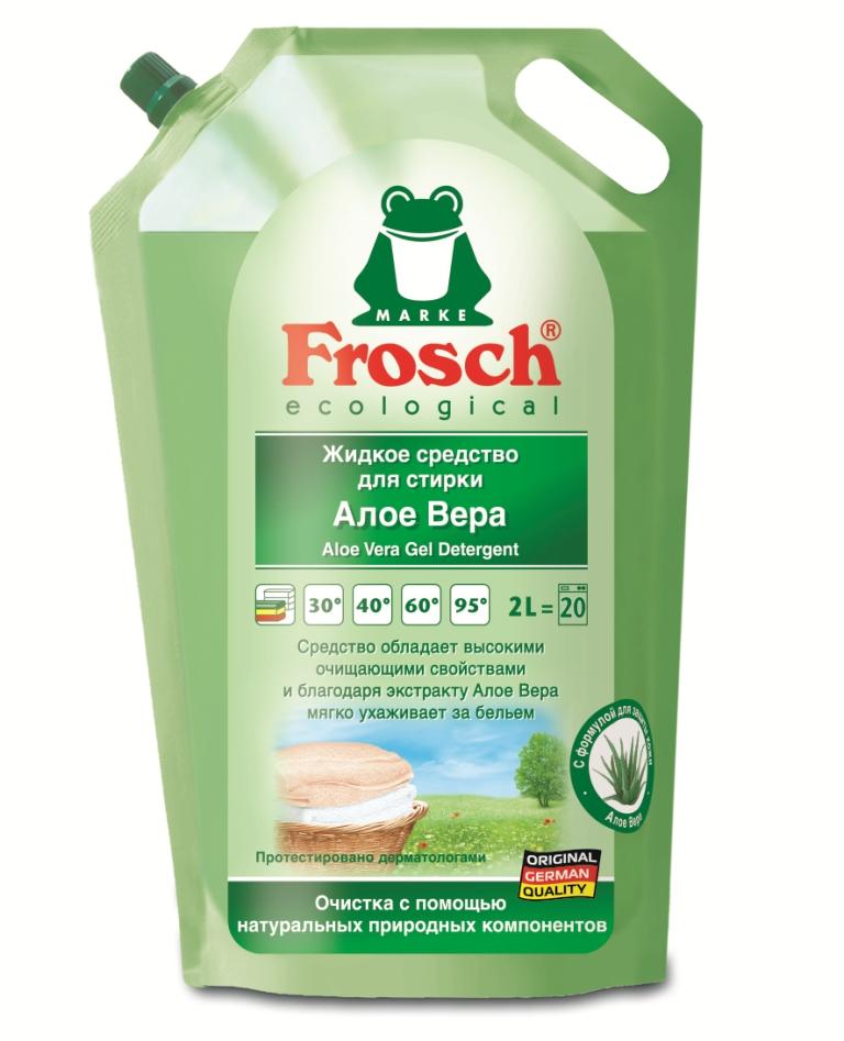 Жидкое средство для стирки Frosch, с Алоэ Вера, 2 л жидкое средство для стирки белого белья лимон frosch 2 л