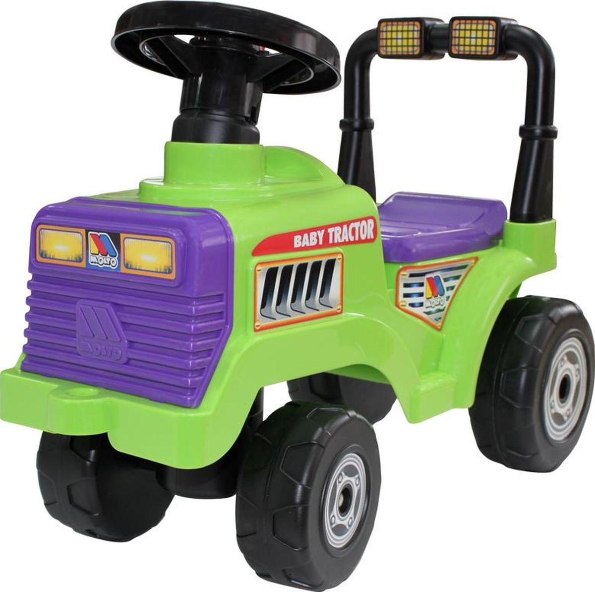 Полесье Каталка Трактор Митя №2, цвет в ассортименте9196Каталка-трактор Полесье Митя - замечательная игрушка из прочной качественной пластмассы ярких приятных цветов. Каталка-трактор отлично подойдёт для игры и катания как мальчикам, так и девочкам. Игрушка имитирует настоящий трактор с решёткой и фарами на прочном бампере, большими устойчивыми колёсами с протектором с большой проходимостью. У трактора удобное откидывающееся сидение, под ним ребёнок может хранить, к примеру, необходимые для ремонта трактора игрушечные инструменты. Передние колёса трактора поворачиваются с помощью руля. Малышей, которые пока не могут ездить на каталке-тракторе, отталкиваясь ногами, могут возить на нём родители, привязав к передней части трактора за специальное отверстие верёвку. Также ребёнок, который учится ходить, может передвигаться, держась за ручку на спинке сидения каталки-трактора. Уважаемые клиенты! Обращаем ваше внимание на цветовой ассортимент товара. Поставка осуществляется в зависимости от наличия на складе. Рекомендуем!