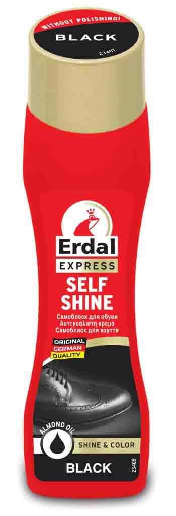 Самоблеск для обуви Erdal, цвет: черный, 75 мл краска для кожи erdal