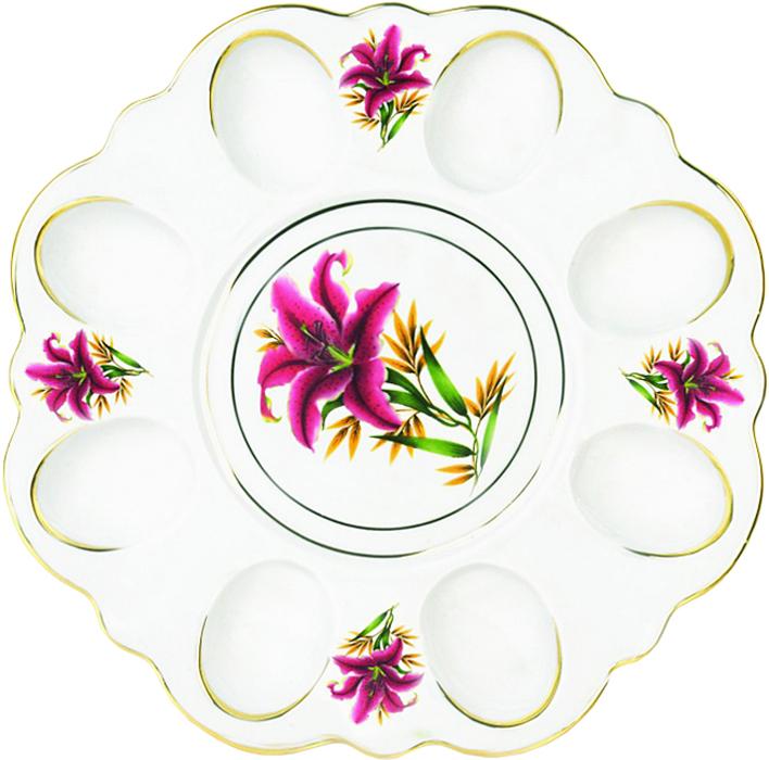 Блюдо для яиц Фарфор Вербилок Розовая лилия. 26351990УП блюдо для яиц фарфор вербилок розовые герберы 26351660уп