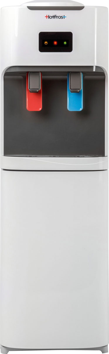 Кулер для воды HotFrost V115V115Кулер для воды HotFrost V115 с компрессорным охлаждением. Сочетание цвета антрацит с демократичным белым в данной модели создает универсальность его использования почти в любом интерьере и поможет подчеркнуть выразительность дизайна помещения. Высота кулера V115 в один метр наиболее эргономична для европейских людей среднего роста. При замене бутыли ее не придется поднимать слишком высоко, в то время как и не придется низко наклоняться для налива воды в стакан. Мощность нагрева 650 Ватт позволяет получить до 5,5 литров воды в час температуры, достигающей 90°C. Компрессорное охлаждение этого аппарата производит до 2 литров в час холодной воды 5-7°C. Краны-пуш (нажим чашкой) являются наиболее популярными. Материал бака горячей воды - нержавеющая сталь. Материал бака холодной воды - нержавеющая сталь. Объем бака горячей воды - 1,02 л. Объем бака холодной воды - 3,00 л. Крупногабаритный товар.