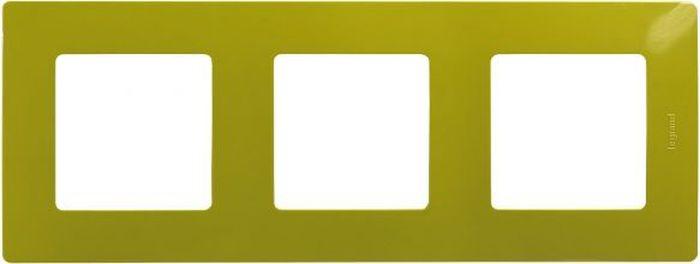 Рамка электроустановочная Legrand Etika Папоротник, цвет: зеленый, на 3 поста рамка для розеток и выключателей bjb basic55 2 поста цвет чёрный
