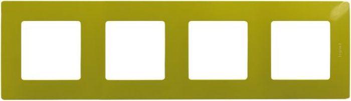 Рамка электроустановочная Legrand Etika Папоротник, цвет: зеленый, на 4 поста рамка для розеток и выключателей bjb basic55 2 поста цвет чёрный