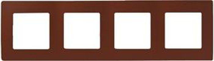 Рамка электроустановочная Legrand Etika, цвет: какао, на 4 поста рамка для розеток и выключателей bjb basic55 2 поста цвет чёрный
